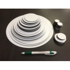 Circle Assortment - White Magnet, 120 pcs - FREE SHIPPING