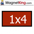 1 x 4 Rectangle Medium Glossy White Magnet