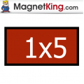 1 x 5 Rectangle Medium Glossy White Magnet