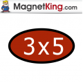 3 x 5 Oval Medium Glossy White Magnet