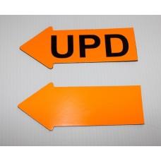 "2"" x 5"" Fluorescent Orange Appraiser Arrows - 12 UPD / 12 No Text"