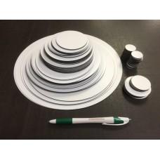 Circle Assortment - White Magnet, 120 pcs - FREE SHIPPING