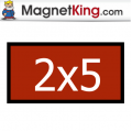 2 x 5 Rectangle Medium Glossy White Magnet